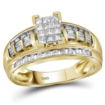 14kt Yellow Gold Womens Princess Diamond Cluster Bridal Wedding Engagement Ring 1/2 Cttw - Size 6