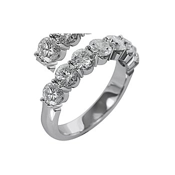 14K White Gold Seven Diamond Band