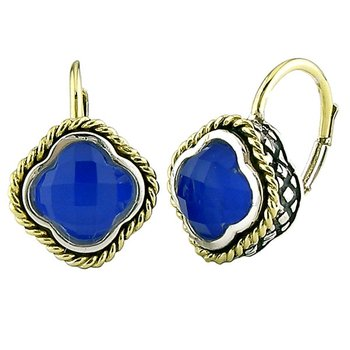 18kt and Sterling Silver Doublet Blue Agate Clover Euro Wire Earrings
