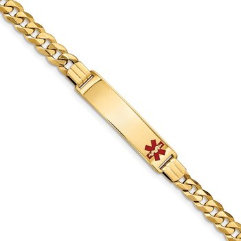 14K Medical Red Enamel Flat Curb Link ID Bracelet