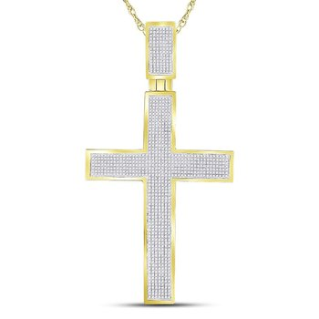 10kt Yellow Gold Mens Round Diamond Crucifix Cross Charm Pendant 1-3/8 Cttw