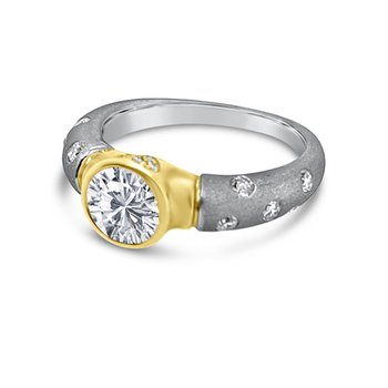Platinum 18K Yellow Gold Diamond Sand Textured Engagement Ring Retro