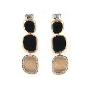 18Kt Gold Drop Earrings With Diamonds And Black Jade