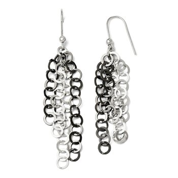 Leslie's SS and Black Plate Polished Dangle Sheherd Hook Earrings