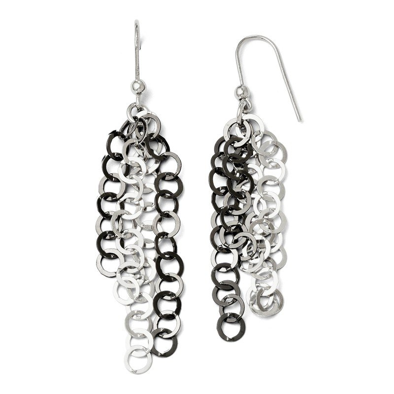 Leslie's Leslie's SS and Black Plate Polished Dangle Sheherd Hook Earrings