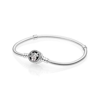 Poetic Blooms Bracelet, Mixed Enamels Clear Cz