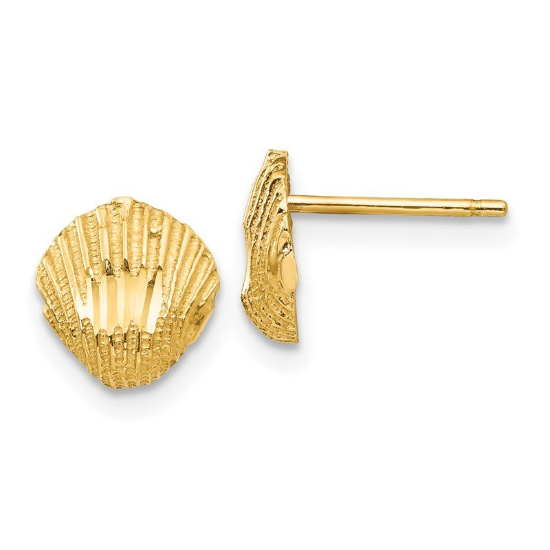 Quality Gold 14K Diamond-cut Shell Earrings