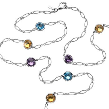 Sterling Silver Colore By The Yard Necklace in Citrine, Blue Topaz, and Amthyst.