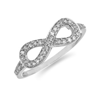 925 SS Diamond Infinity Ring in Channel Prong Setting