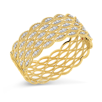 18Kt Gold 5 Row Bangle With Diamonds