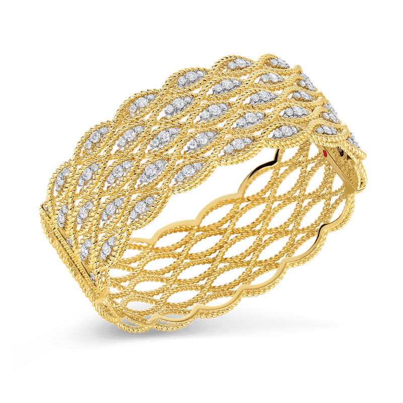 Roberto Coin 18Kt Gold 5 Row Bangle With Diamonds