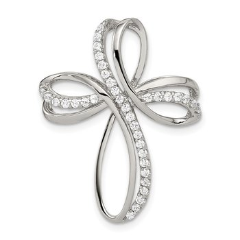 Sterling Silver Rhodium-plated Polished CZ Cross Chain Slide