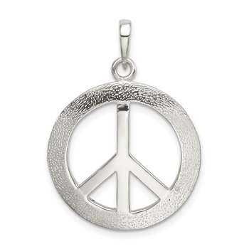 Sterling Silver Polished & Textured Peace Pendant