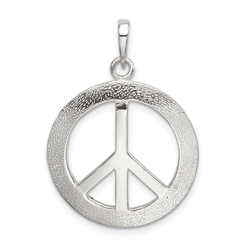 Quality Gold Sterling Silver Polished & Textured Peace Pendant