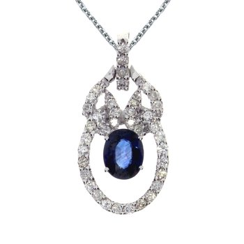 14k White Gold Sapphire and Diamond Open Pendant