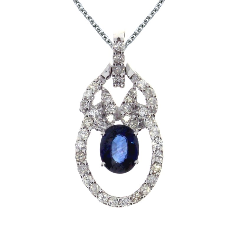 Color Merchants 14k White Gold Sapphire and Diamond Open Pendant