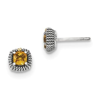 Sterling Silver w/14k Square Cushion Citrine Post Earrings