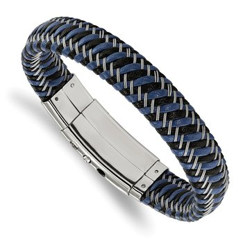 Stainless Steel Polished Black & Blue Leather Adj. 7.75-8.25in Bracelet