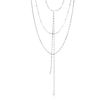 Silver Mirror & Bead Chain Tassel Necklace