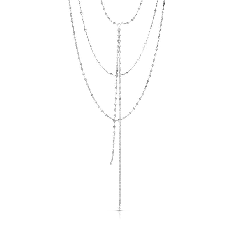Royal Chain Silver Mirror & Bead Chain Tassel Necklace
