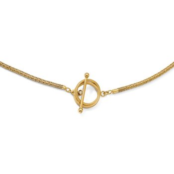 Leslie's Sterling Silver Gold-plated D/C Toggle Bracelet/Necklace