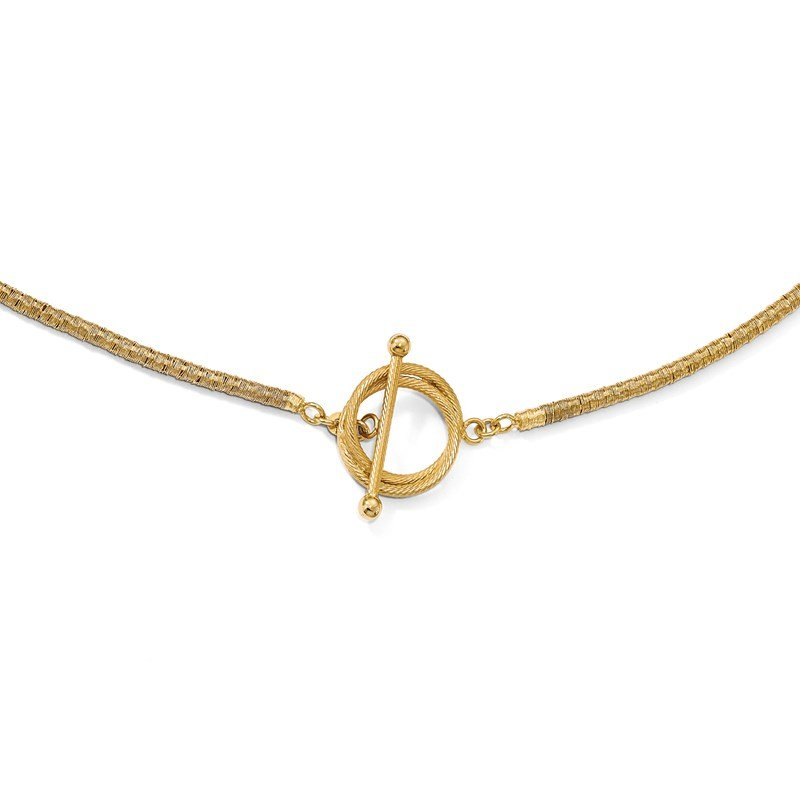 Leslie's Italian Gold Leslie's Sterling Silver Gold-plated D/C Toggle Bracelet/Necklace