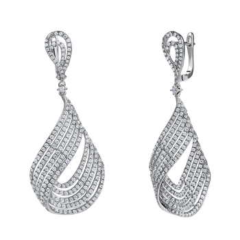 14k pear shape design earrings featuring 464 diamonds 3.78ct