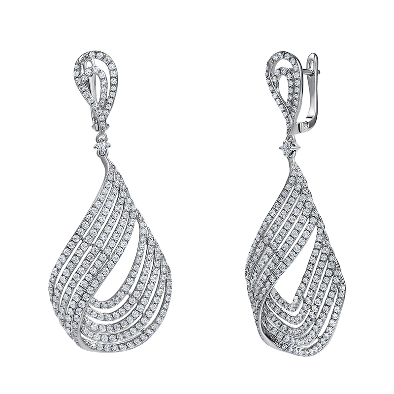 Shula NY 14k pear shape design earrings featuring 464 diamonds 3.78ct