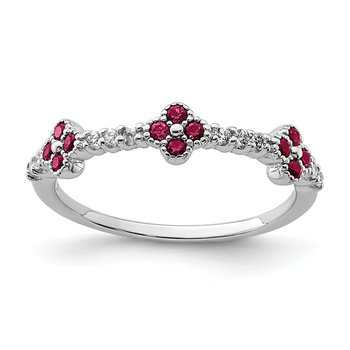Sterling Silver Rhodium Plated Red & Clear CZ Ring