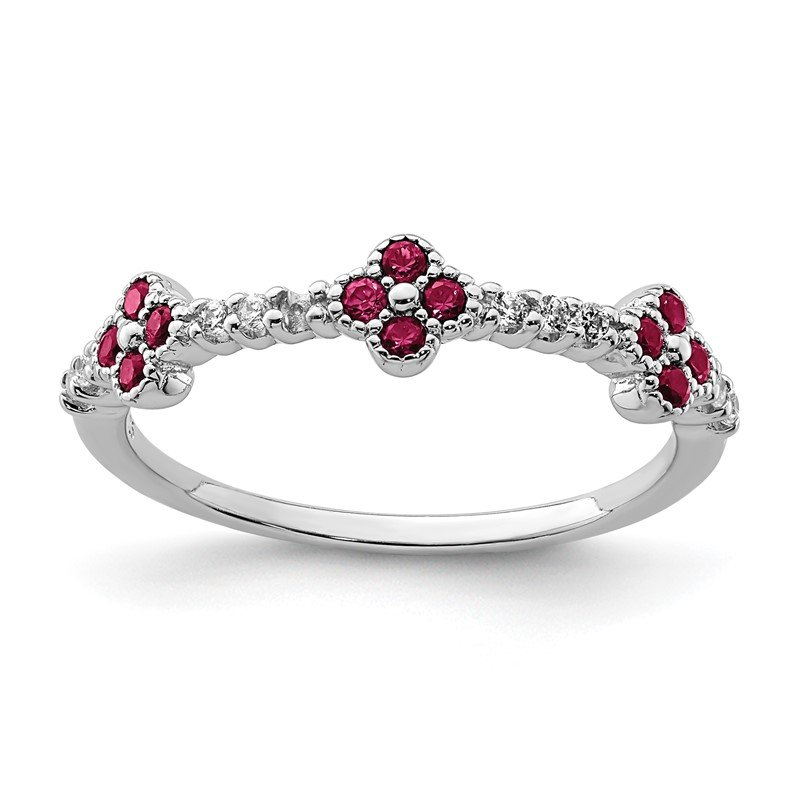 Quality Gold Sterling Silver Rhodium Plated Red & Clear CZ Ring