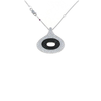 Roberto Coin 18Kt Gold White And Black Diamond Oval Pendant