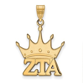 Gold-Plated Sterling Silver Zeta Tau Alpha Greek Life Pendant