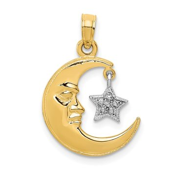 14k Two-Tone Polished Half Moon and Star Pendant