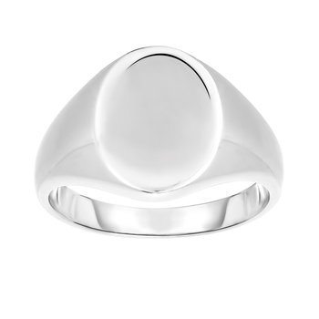 Silver Polished Oval Signet Ring