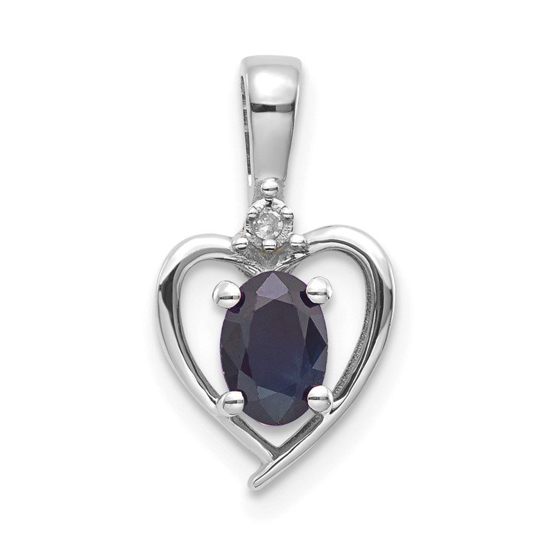Quality Gold 14k White Gold Sapphire and Diamond Heart Pendant