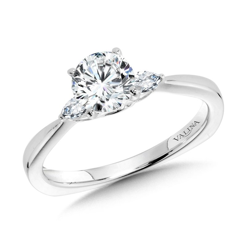 Valina Tapered 3 Stone Round and Pear Diamond Engagement Ring