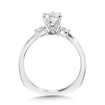 Tapered 3 Stone Round and Pear Diamond Engagement Ring