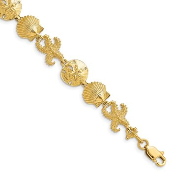 14k Seashell Theme Bracelet