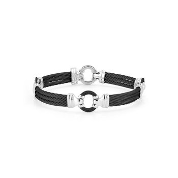 Men's Black Cable Bracelet with Cable Center Ring and Stainless Steel Accents