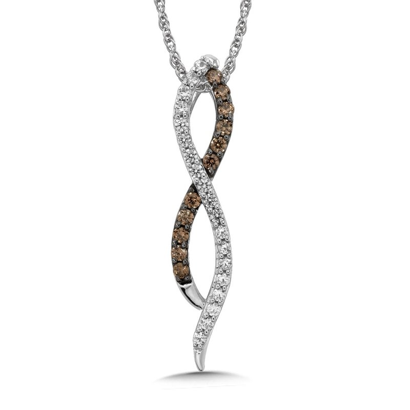 SDC Creations Pave set Cognac and White Diamond Infinity Pendant, 10k White Gold  (1/3 ct. dtw.)
