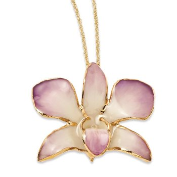 24K Gold-trim Lacquer Dipped White/Lilac Dendrobium Orchid Necklace