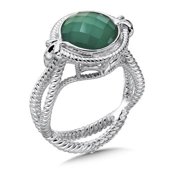 Sterling Silver White Quartz & Dyed Green Agate Fusion Split Shank Ring