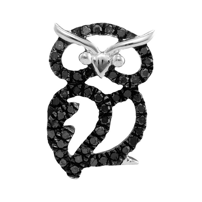Gold-N-Diamonds Sterling Silver Womens Round Black Color Enhanced Diamond Owl Bird Pendant 1/6 Cttw