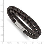 Chisel Stainless Steel Polished Brown/Black Leather Braided 15.75in Wrap Bracelet