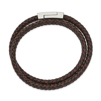Stainless Steel Polished Brown/Black Leather Braided 15.75in Wrap Bracelet