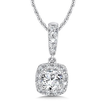 Diamond Cushion Halo Pendant with Diamond Bale in 14K White Gold (3/4 ct. tw.)