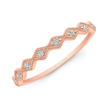 Rose Gold Milgrain Diamond Shaped Stackable Band