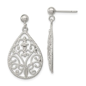 Sterling Silver Polished Diamond-cut Post Earrings