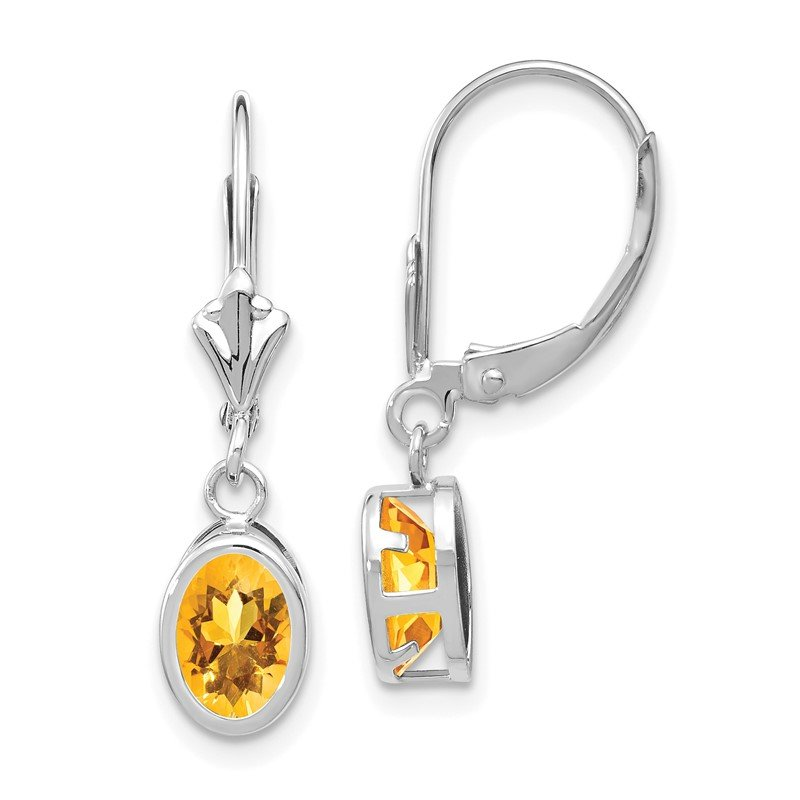 Quality Gold 14kw Citrine Oval Leverback Earrings