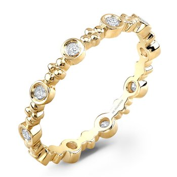 Yellow Gold Beaded Bezel Stackable Band